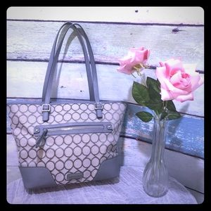 Nine West Tote Purse With Silver Accents Grey